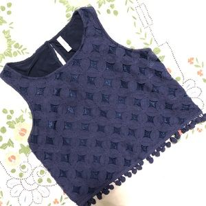 Target Lace Crop Top with Puff Balls Decal